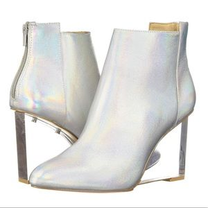 Katy Perry Mona Ankle Booties Lucite Wedge Silver